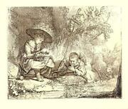 Rembrandt Van Rijn The Flute Player Land039espiegle Etching