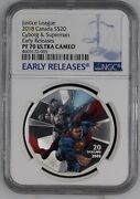 Justice League Cyborg And Superman 2018 Canada 20 Silver Coin Ngc Pf 70 Uc Er