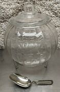 Antique Sellers/hoosier Large Round Flour Canister Glass Jar W/ Airy Fairy Scoop