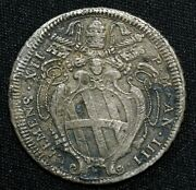 1733 Italian States Papal States Testone Km 845 Silver Coin Clem Xii Papal Arms