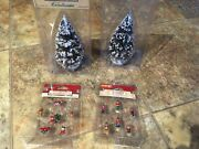 Lemax Village -2 Christmas Tree Decorations And 2 Snowy Evergreen Trees