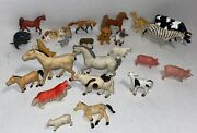 Lot Of 25 Vintage Plastic Toy Pet And Farm Animals Hong Kong 7 Are Jaru China-lil