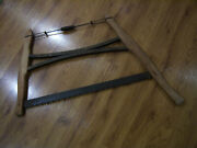 Vtg Antique Collectorand039s Buck Bow Cross Cut Saw Wood Handle Wall Display