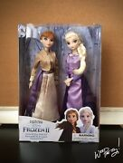 2019 Disney Queen Gold And Purple Gown Anna Elsa Classic Doll Boxed Set Frozen 2