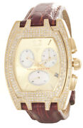 Aqua Master Menand039s Champagne Dial Burgundy Leather Band 3.5ct Diamond Watch W35