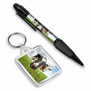 Pen And Keyring Rectangle - Funny Curious Cattle Cow Farm 12314