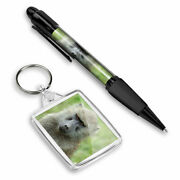 Pen And Keyring Rectangle - Funny Olive Baboon Monkey 12747