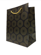 Black And Gold Paper Gift Bags With Handles 8x10x5 Matte Modern Fancy Luxury