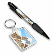 Pen And Keyring Rectangle - Funny Mini Cyclist On Toast 3472