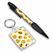 Pen And Keyring Rectangle - Cute Funny Emoji Faces Emojicons 8401