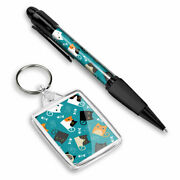 Pen And Keyring Rectangle - Cute Funny Cats Kitten Animals Pets 8746
