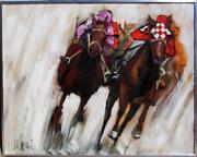 Lee Reynolds Three Four Action Oil On Canvas Signed L.l.