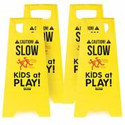 Caution Slow Kids At Play Children Safety Signs Slow Down Street Sign Pack Of 4