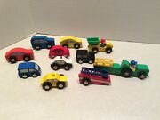 Toy Wooden Track Trucks/tractor/cars, 12 Piece