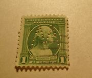 Very Rare 1 Cent George Washington Green Stamp Looking Right M Perfin Mark.