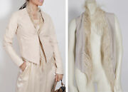 Brunello Cucinelli Ivory Leather Vest Ostrich Feather Jacket Size 42 5800