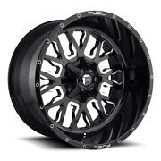 22x14 D611 Fuel Stroke Gloss Black And Milled Wheels 6x135/6x5.5 -75mm Set Of 4