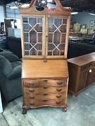 Chippendale Style Mahogany Secretary Desk Glass Door Claw Foot . No Shipping.