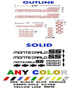 Monte Carlo Ss Stickers Decals Any Color 1985 1986 85 86