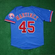 Pedro Martinez Montreal Expos Alternate W/ Team Patch Blue Jersey Menand039s M-2xl