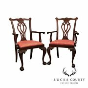 Councill Chippendale Style Pair Carved Mahogany Ball And Claw Armchairs