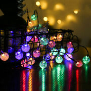 3m Solar Powered Led Outdoor String Lights Crystal Balls Globe Fairy Strip Lamps