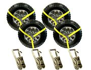Usa 8pc Yellow 8and039 Lasso Strap 2 Ratchet W/ Finger Hook Tow Truck Tire Wheel Tie