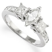 Diamond Engagement Princess And Marques Cut Ring 14k W/g Sizes 4 To 9.5 R1082