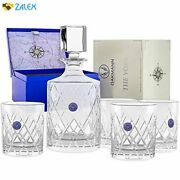 Premium Whiskey Decanter And Glass Set Hand Cut Crystal Large 32oz Lead Free Dec