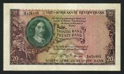 South Africa 20 Rand 1962 Au / Unc P-108a Sign 4 Watermark J.v.riebeeck