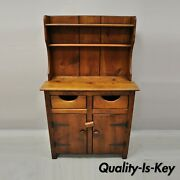 Antique Pine Wood Step Back Childs Size Small Colonial Hutch Cupboard Cabinet
