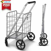 Newly Released Grocery Utility Flat Folding Shopping Cartwith 360° Rolling Sw