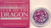 2012 Lunar Coin Year Of The Dragon 1oz Silver Proof Coin Certificat Number 02272