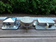 Antique Vintage Manning Bowman Lightning Electric Chrome Waffle Maker Iron As Is