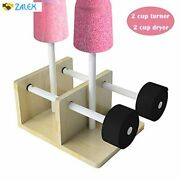 Fitsan Double Cup Turner 2 Wands Epoxy Tumbler Spinner And 2 Drying Rack Wood Roti