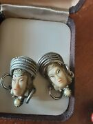 Vintage Sterling Coral Lipstick Case Mirrorand Asian Brooch