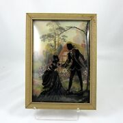 Silhouette Picture Man And Woman Vintage Bubble Convex Glass Black Reverse Painted