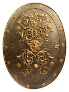 Antique Medieval Style Ornamental Bronze Mounted Battle Shield