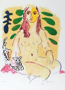 Wayne Ensrud, Lady With Cat, Lithograph, Signed And Numbered In Pencil