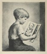 James Chapin Boy Reading Etching Signed In Pencil