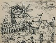 Laurent Marcel Salinas, Farmhouse With Windmill 243, Ink On Paper, Signed