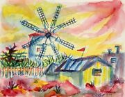 Laurent Marcel Salinas, Farmhouse With Windmill 56, Watercolor On Paper, Signed