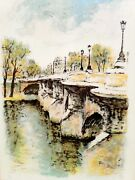 Ira Moskowitz Canal And Bridge Lithograph Signed And Numbered In Pencil