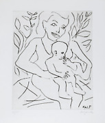 A.r. Penck, Frau Mit Kind, Drypoint Etching, Signed And Numbered In Pencil