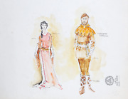 R. Jeronimo Renaissance Couple In Costume Watercolor Gouache And Ink On Illu