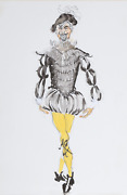 R. Jeronimo Man In Costume With Yellow Tights Watercolor And Ink On Paper Sig