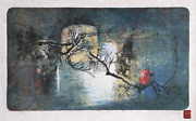 Lebadang Aka Hoi Winter Tree In Moonlight Lithograph On Japon Mounted To Ar