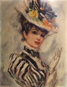 John Strevens, Victorian Woman In Floral Hat, Offset Lithograph On Textured Pape