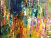 Polly Perruchot, Colorful Fountain, Acrylic On Canvas, Signed
