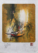 Lebadang Aka Hoi Red Boats On Orange Lithograph With Remarque Drawing Signe